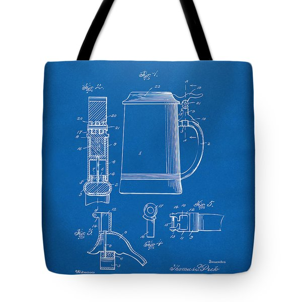 1914 Beer Stein Patent Artwork - Blueprint Tote Bag by Nikki Marie Smith