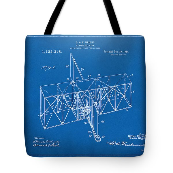 Tote Bag featuring the drawing 1914 Wright Brothers Flying Machine Patent Blueprint by Nikki Marie Smith