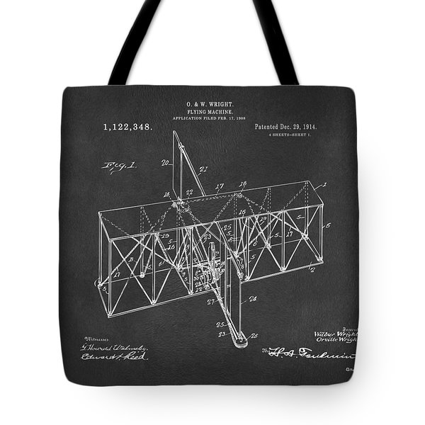 Tote Bag featuring the drawing 1914 Wright Brothers Flying Machine Patent Gray by Nikki Marie Smith