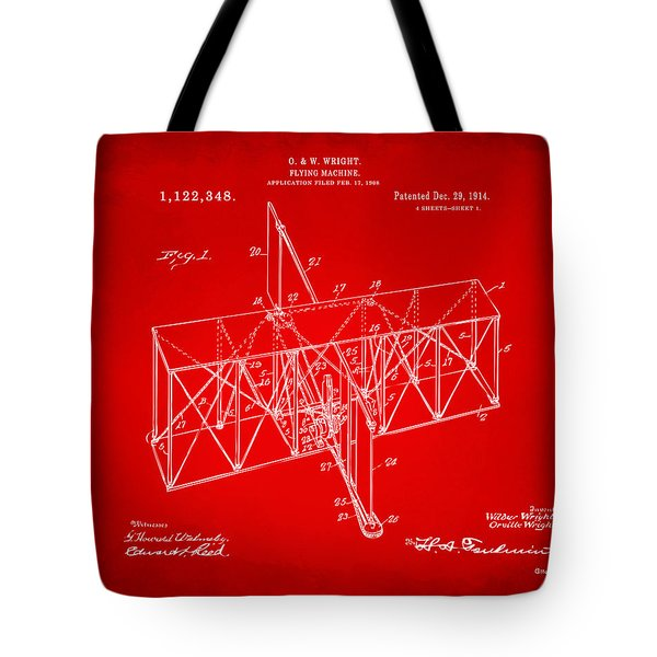 Tote Bag featuring the drawing 1914 Wright Brothers Flying Machine Patent Red by Nikki Marie Smith