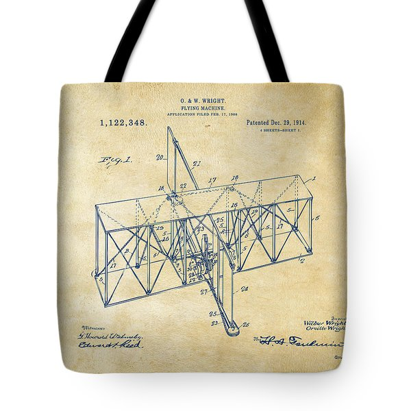 Tote Bag featuring the drawing 1914 Wright Brothers Flying Machine Patent Vintage by Nikki Marie Smith