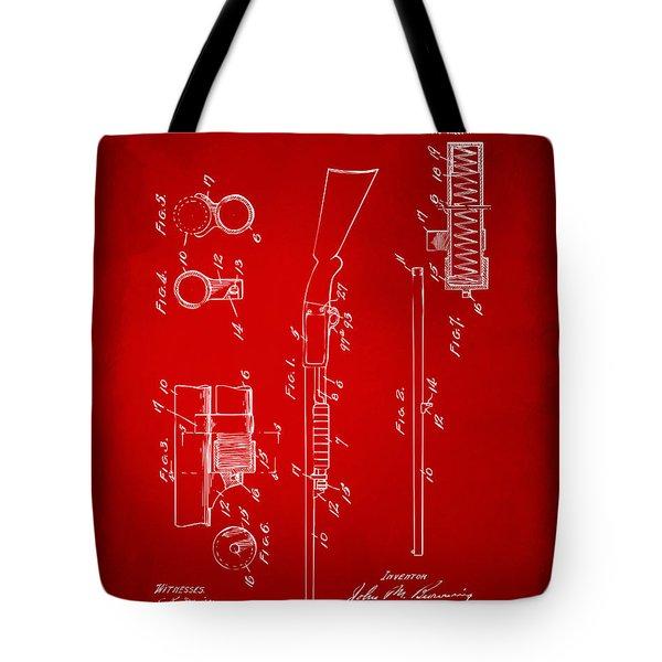 1915 Ithaca Shotgun Patent Red Tote Bag