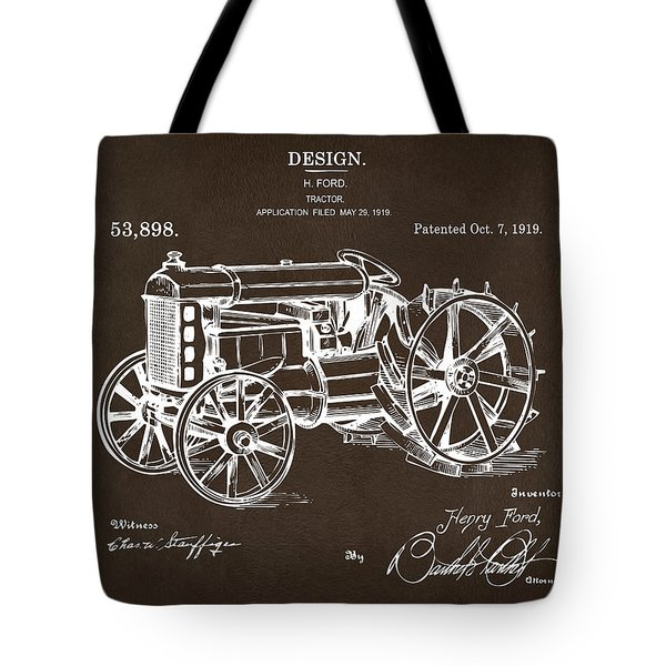 Tote Bag featuring the drawing 1919 Henry Ford Tractor Patent Espresso by Nikki Marie Smith