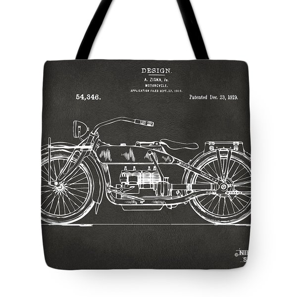 1919 Motorcycle Patent Artwork - Gray Tote Bag