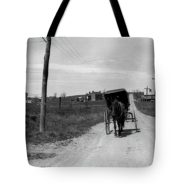 1920s 1930s Amish Man Driving Buggy Tote Bag