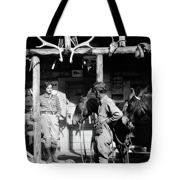 1920s 1930s Couple And Horses In Front Tote Bag