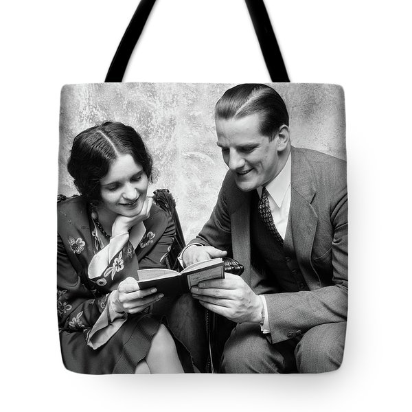 1920s 1930s Couple Reading Sharing Book Tote Bag