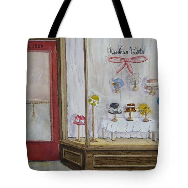 Tote Bag featuring the painting 1920's Little Hat Shop by Kelly Mills