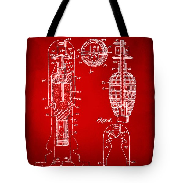 1921 Explosive Missle Patent Minimal Red Tote Bag by Nikki Marie Smith
