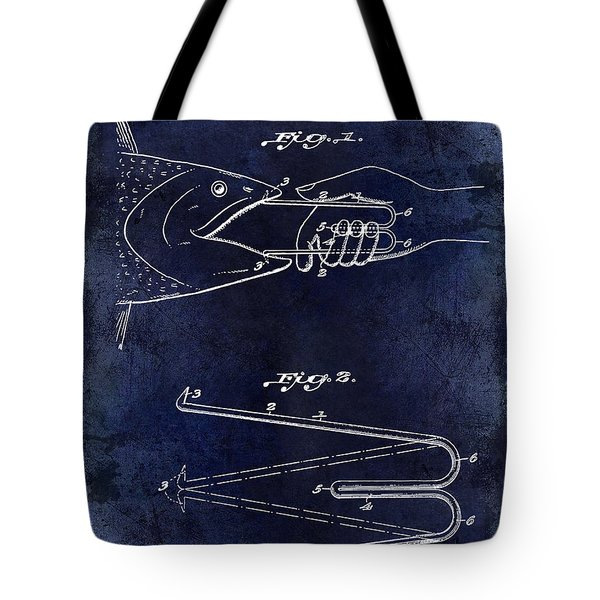 1922 Fish Mouth Opener Patent Drawing Blue Tote Bag