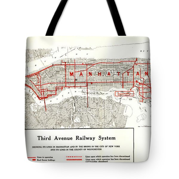 Tote Bag featuring the photograph 1922 Map Third Avenue Railway by Third Avenue Railway