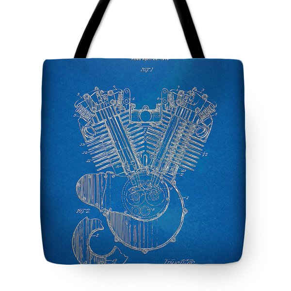 1923 Harley Davidson Engine Patent Artwork - Blueprint Tote Bag