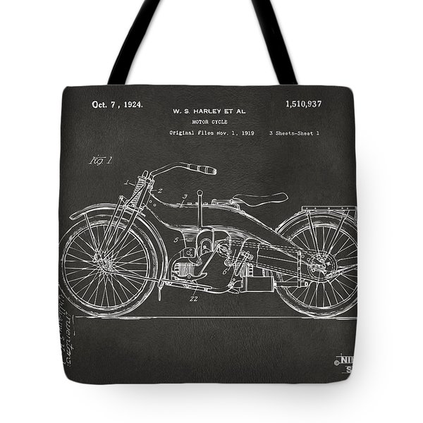 1924 Harley Motorcycle Patent Artwork - Gray Tote Bag