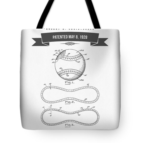 1928 Baseball Patent Drawing Tote Bag