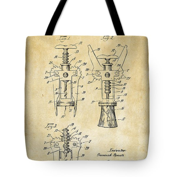 1928 Cork Extractor Patent Art - Vintage Black Tote Bag