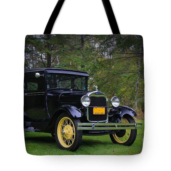 1928 Ford Model A Tudor Tote Bag by Davandra Cribbie