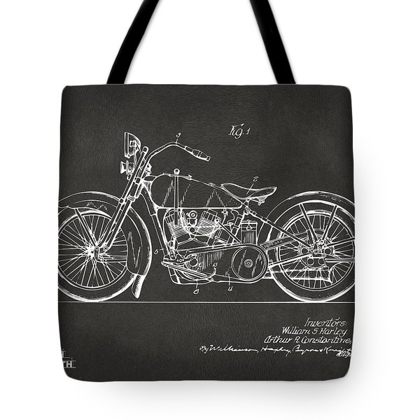 1928 Harley Motorcycle Patent Artwork - Gray Tote Bag