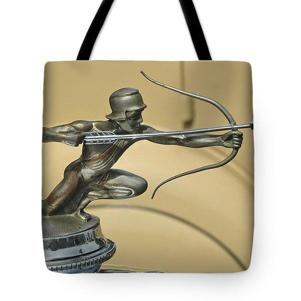 1928 Pierce Arrow Helmeted Archer Hood Ornament Tote Bag