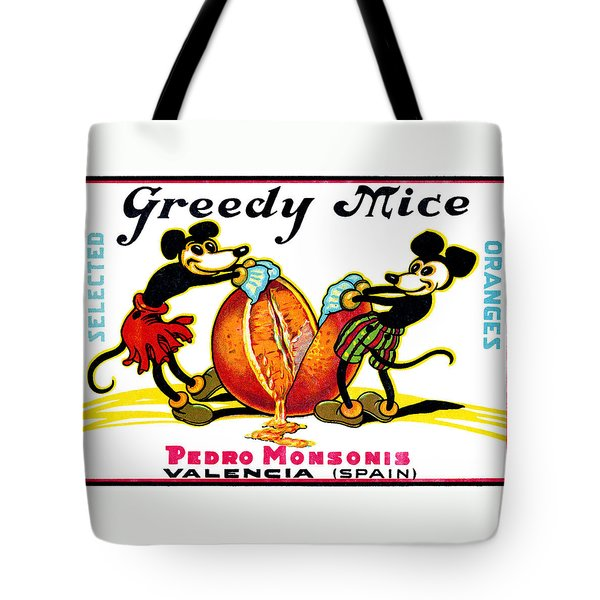 1930 Greedy Mice Crate Label Tote Bag