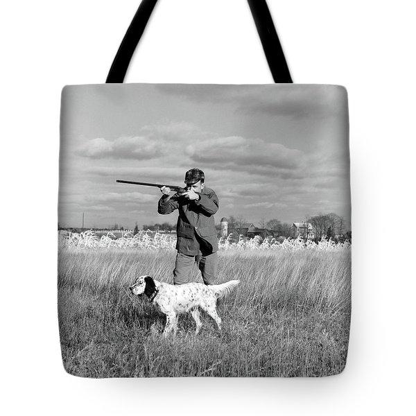 1930s 1940s Man Bird Hunting In Field Tote Bag