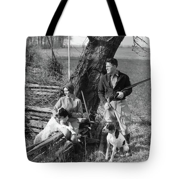 1930s Couple In Hunting Gear With Two Tote Bag