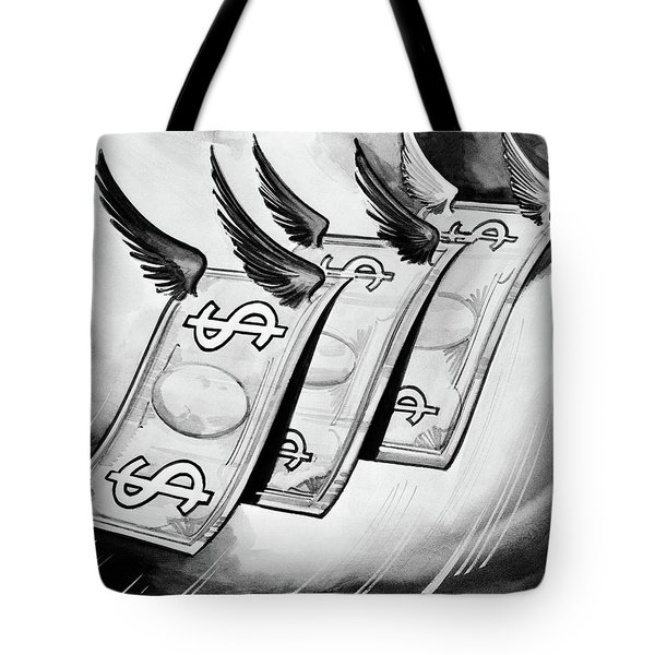 1930s Fake Money With Wings Flying Away Tote Bag