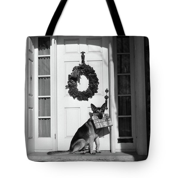 1930s German Shepherd Dog Sitting Front Tote Bag