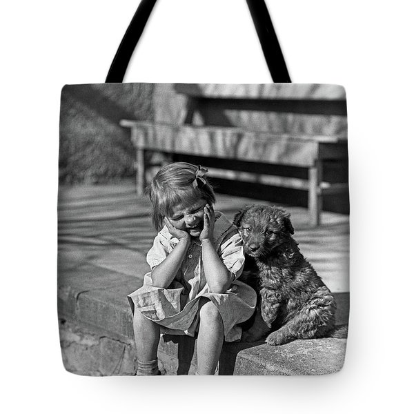 1930s Little Girl Sitting On Porch Tote Bag