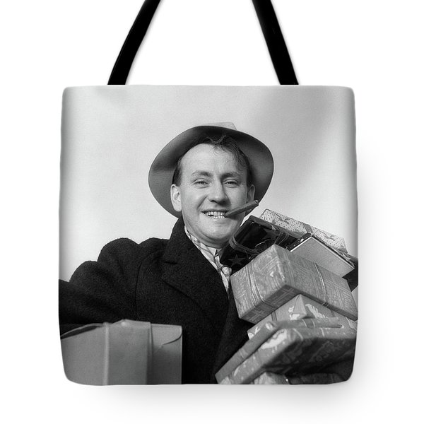 1930s Man Cigar In Mouth Hat Tipped Tote Bag