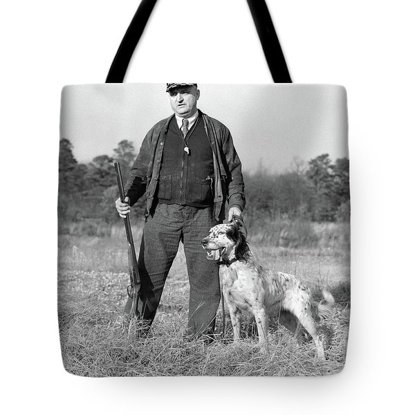 1930s Man Standing In Field Holding Tote Bag