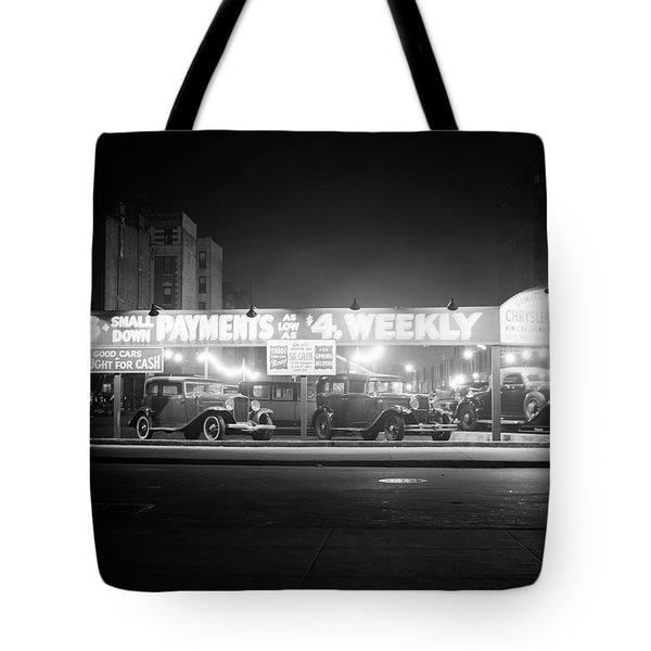 1930s New And Used Car Lot At Night Tote Bag
