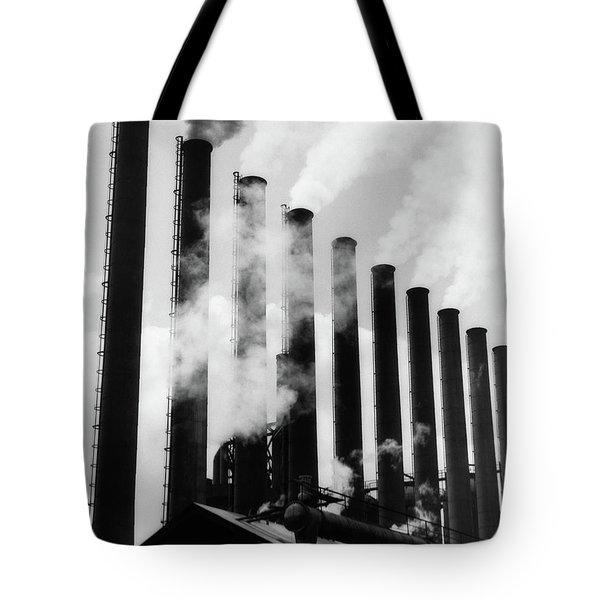 1930s Smoke Stacks At Factory Tote Bag