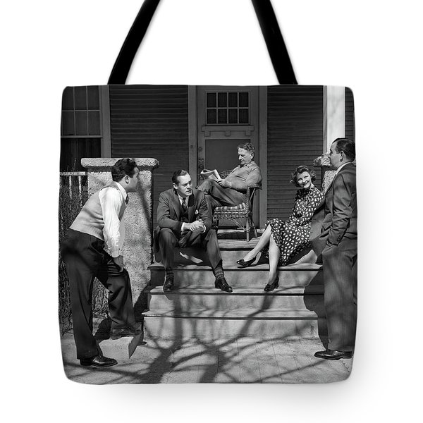 1930s Three Men Courting A Women Tote Bag