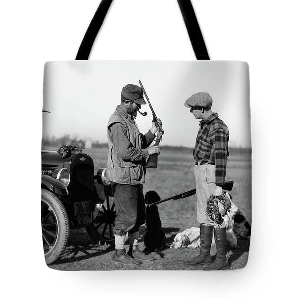 1930s Two Men Hunters By Car Looking Tote Bag
