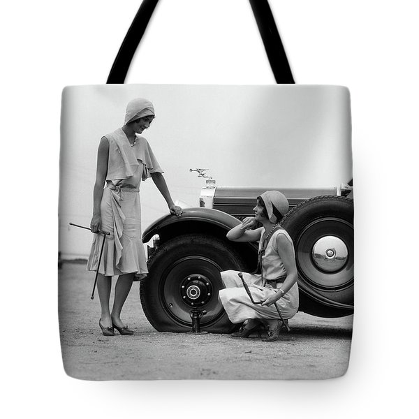 1930s Two Women Confront An Automobile Tote Bag