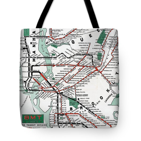 Tote Bag featuring the photograph 1931 Map Brooklyn Manhattan Transit by BMT Lines
