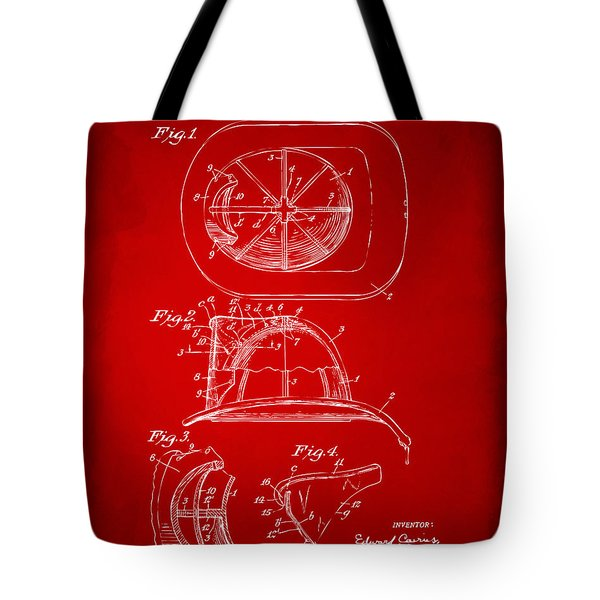 1932 Fireman Helmet Artwork Red Tote Bag
