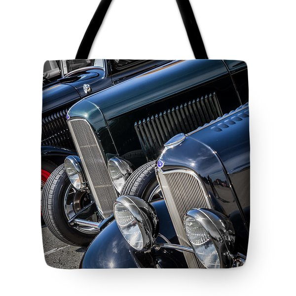 Tote Bag featuring the photograph 1932 Ford Roadster Coupes With Louvered Hoods by Ron Pate