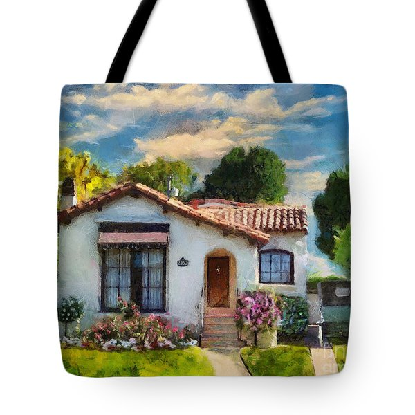 Tote Bag featuring the mixed media Alameda 1932  Spanish Beauty by Linda Weinstock