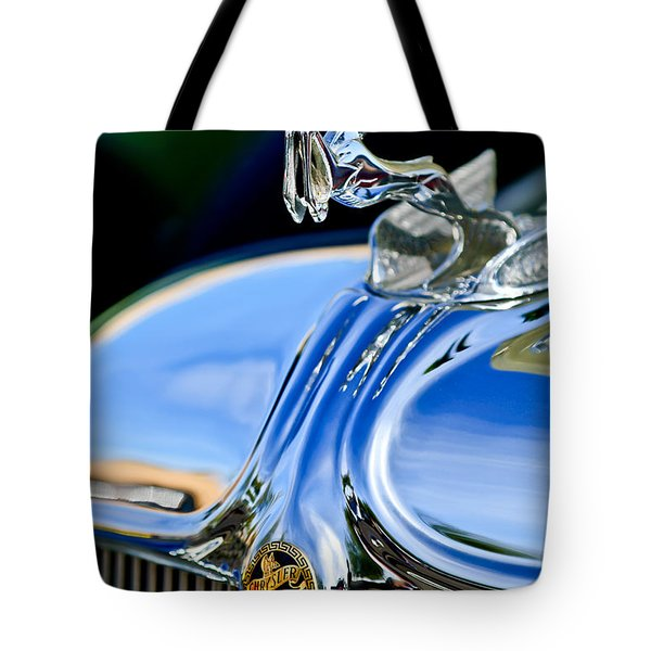 1933 Chrysler Imperial Hood Ornament 3 Tote Bag by Jill Reger