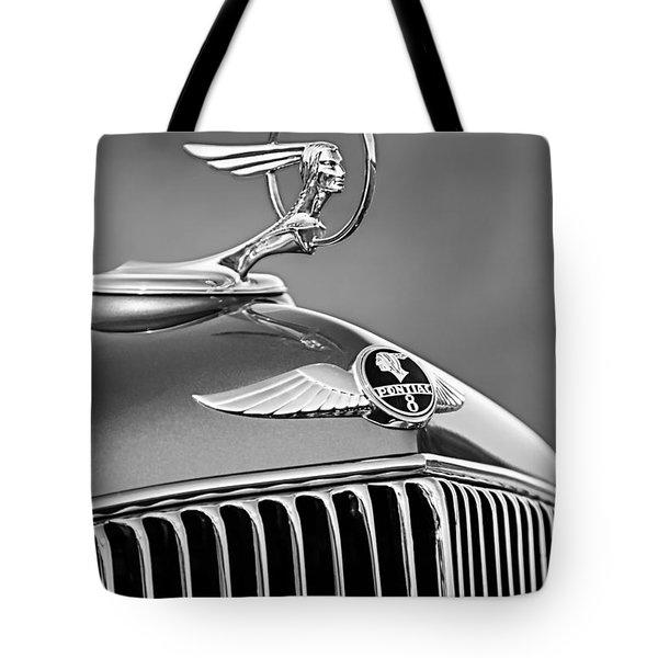 1933 Pontiac Hood Ornament - Emblem -0385bw Tote Bag