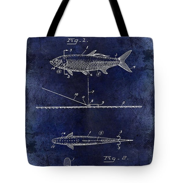 1934 Artificial Fish Lure Patent Drawing Blue Tote Bag