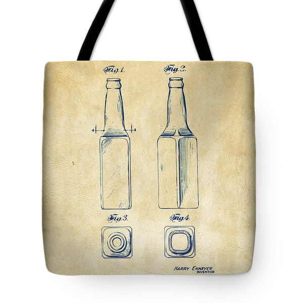 1934 Beer Bottle Patent Artwork - Vintage Tote Bag