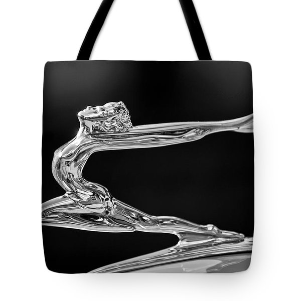 Tote Bag featuring the photograph 1934 Buick Goddess Hood Ornament -174bw by Jill Reger