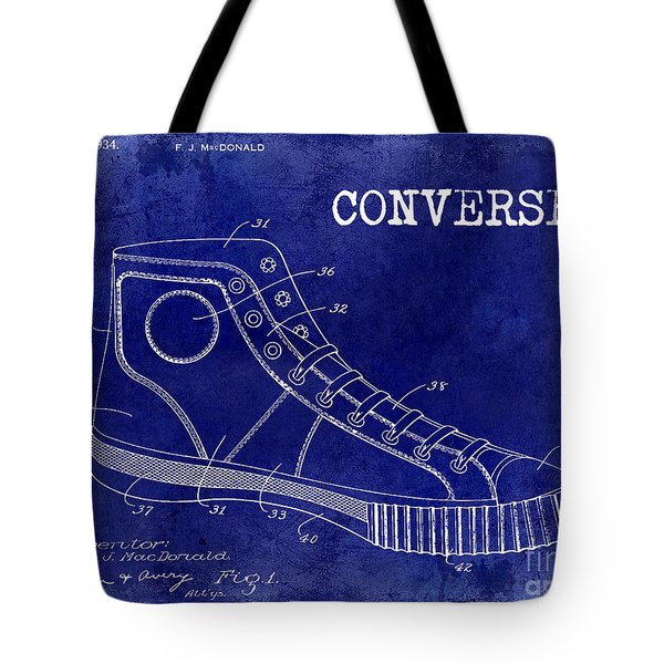 1934 Converse Shoe Patent Drawing Blue Tote Bag