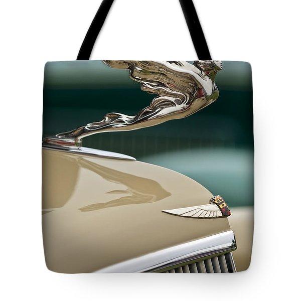1935 Cadillac Convertible Hood Ornament Tote Bag