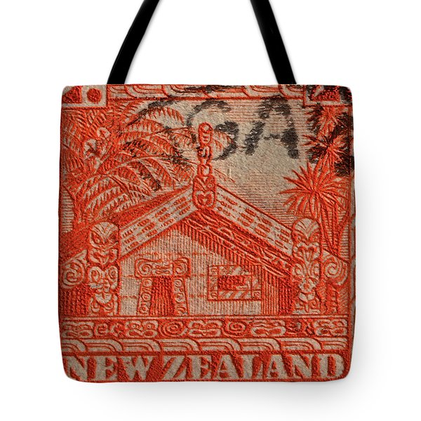 1935 Carved Maori House New Zealand Stamp Tote Bag by Bill Owen