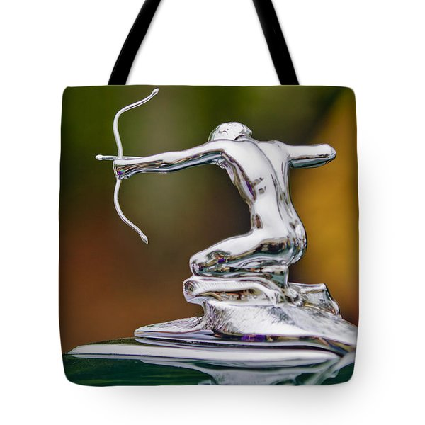 Tote Bag featuring the photograph 1935 Pierce-arrow 845 Coupe Hood Ornament by Jill Reger
