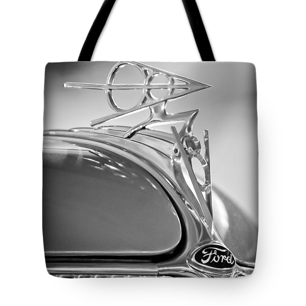 1936 Ford Deluxe Roadster Hood Ornament 2 Tote Bag by Jill Reger