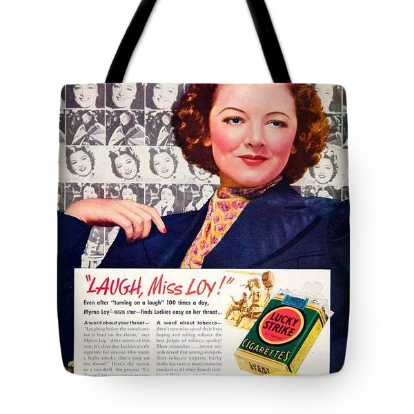 1938 - Lucky Strike Cigarettes Advertising - Myrna Loy - Color Tote Bag